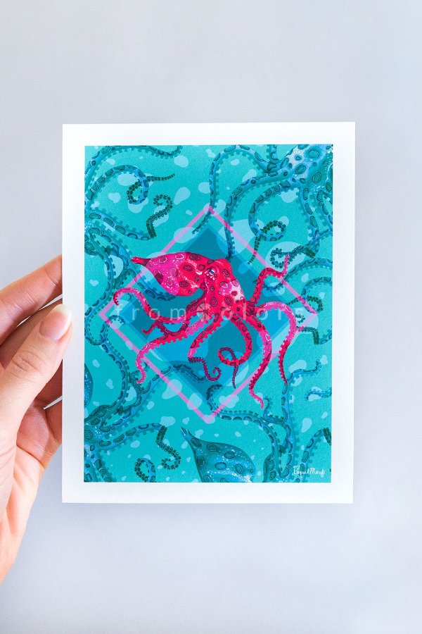 Mini Print Octopodinae de Polvos em Aquarela