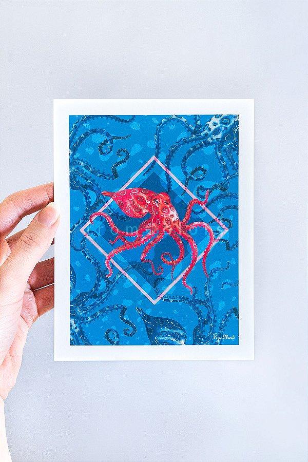 Mini Print Octopodinae Lazuli de Polvos em Aquarela