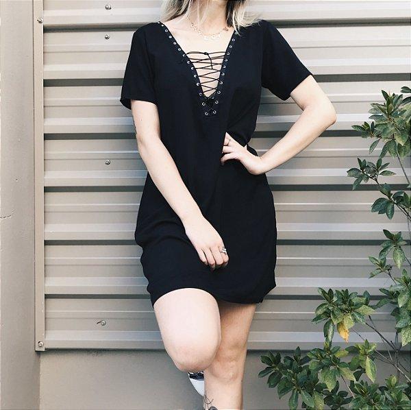 Vestido Amarração Frontal Preto