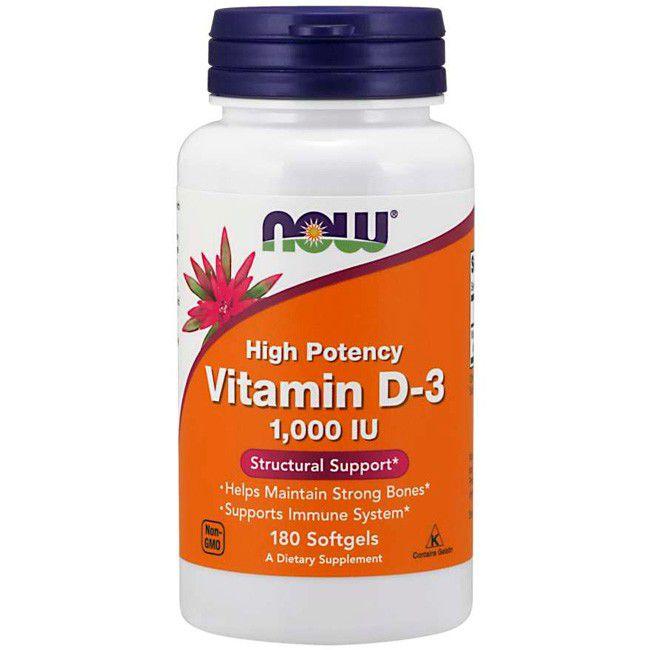 Vitamina D-3 (1000IU) 180 Cápsulas Now Foods