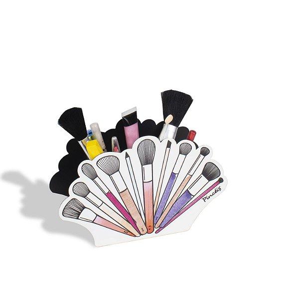 Porta Pincéis De Maquiagem Preto com Pincéis Coloridos