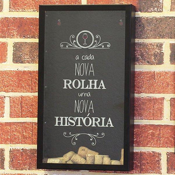 Quadro Porta Rolhas Metal Preto História