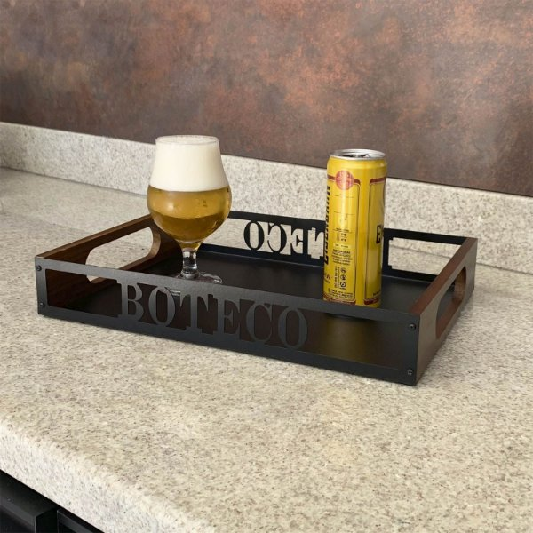 Bandeja de Madeira para Bebidas Boteco
