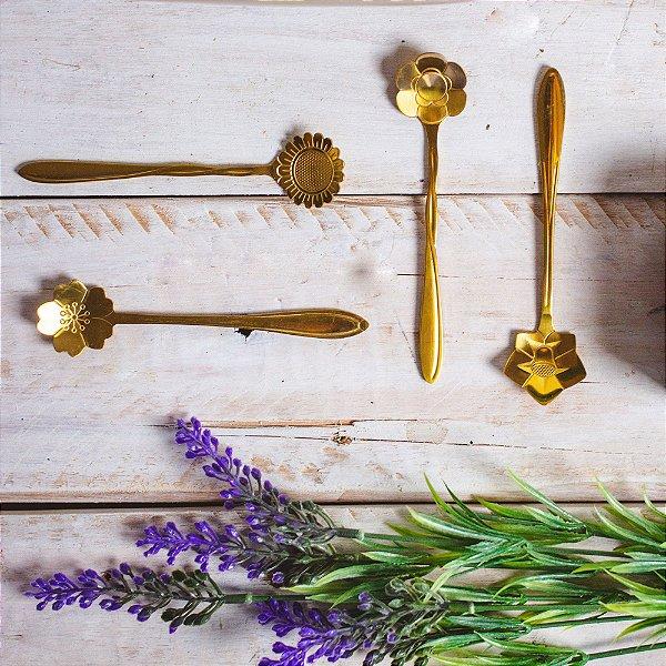 Jogo de Colheres para Chá Flores Dourada 4 unidades