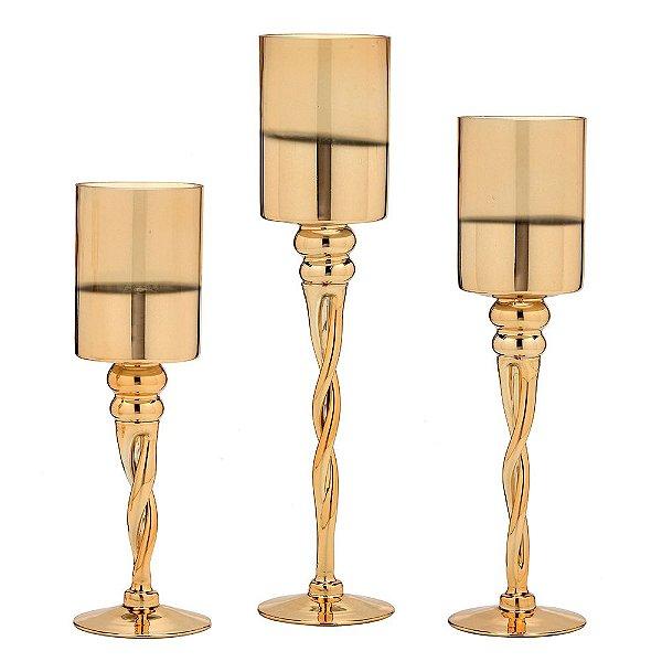 Conjunto de Castiçais Dourado de Vidro 3 peças