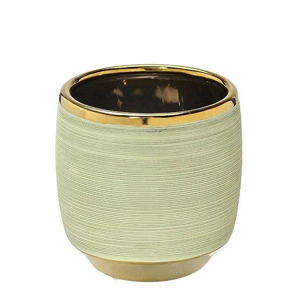 Vaso Decorativo Verde Claro com Dourado 15cm