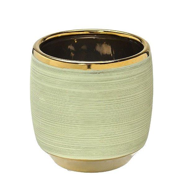 Vaso Decorativo Verde Claro com Dourado 18cm