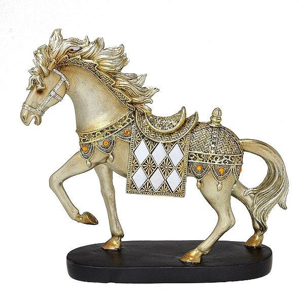 Cavalo Decorativo Dourado com Pedras 25,5cm