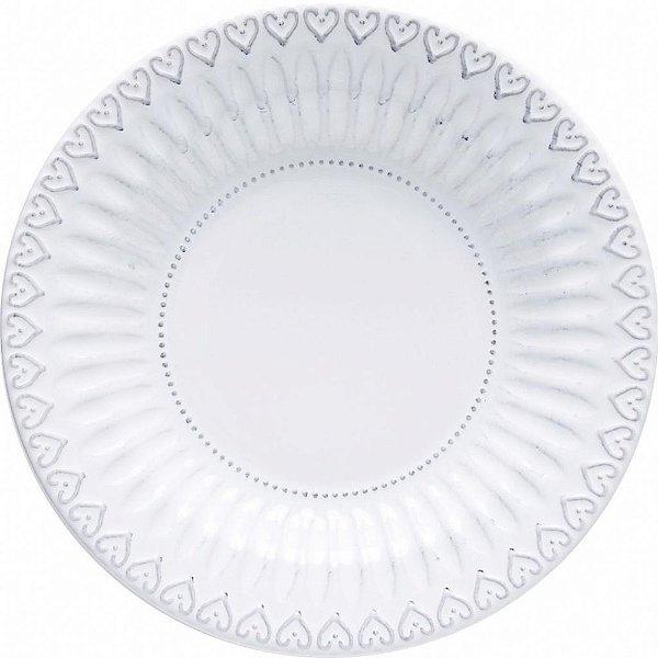 Conjunto de Pratos Fundos Branco Borda Coração 25,5cm 6 peças