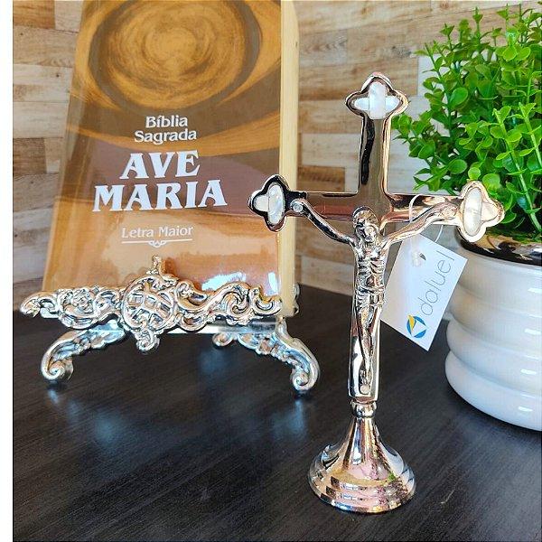 Crucifixo Zamac com Madreperola 19cm