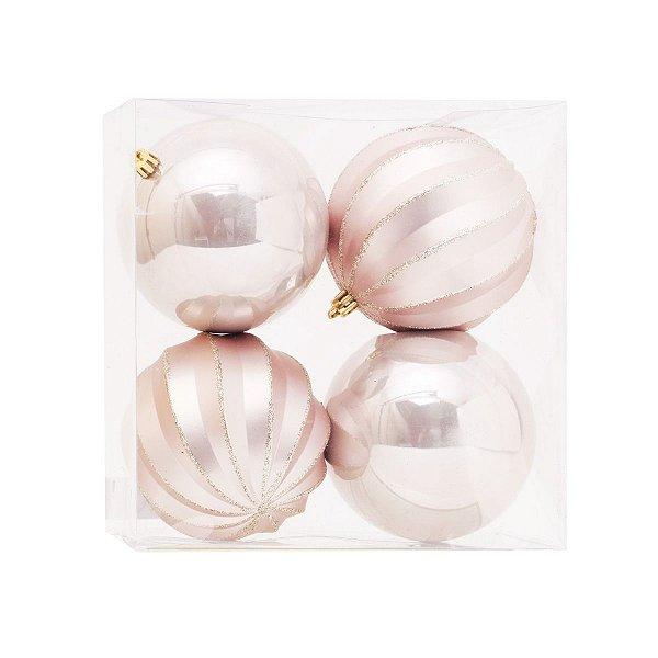 Bola de Natal Dourada Nude Gomos e Lisa 10 cm 4 Unidades