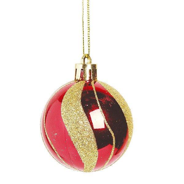 Bola de Natal Vermelha e Dourada Listras 5 cm 6 Unidades