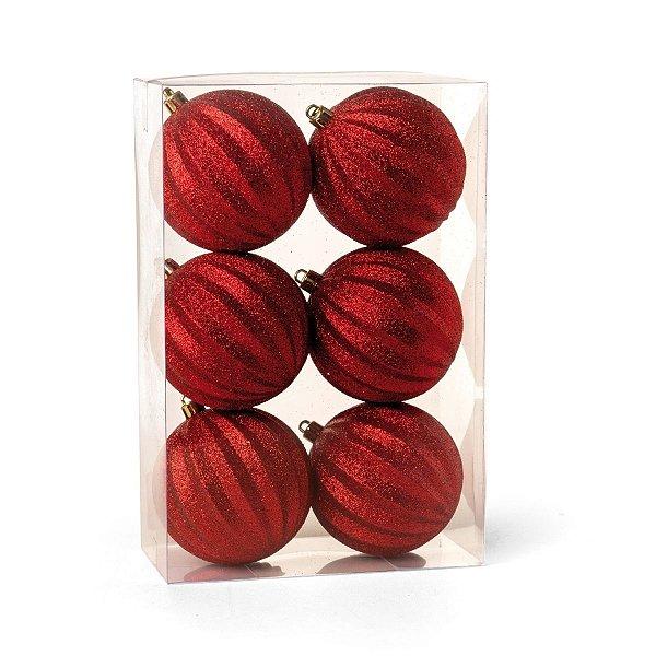 Bola de Natal Vermelha Glitter Gomos 8 cm 6 Unidades