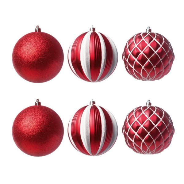 Bola de Natal Vermelha com Branco 10 cm Listras e Glitter 6 Unidades