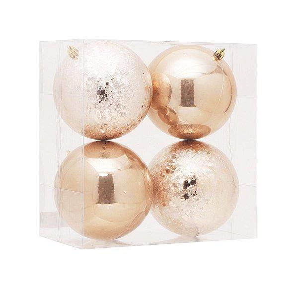 Bola de Natal Marfim 12 cm Brilho e Craquelada 4 Unidades