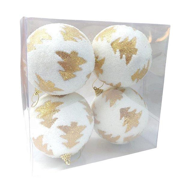 Bola de Natal Branca com Pinheiros Dourada 10 cm 4 Unidades