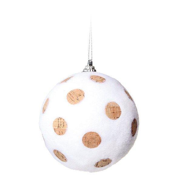 Bola de Natal Branca Poá Marrom 8 cm 6 Unidades
