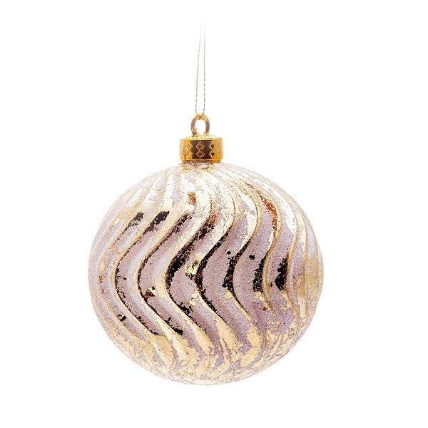 Bola de Natal Dourada com Glitter Branco Ondas 8 cm 6 Unidades