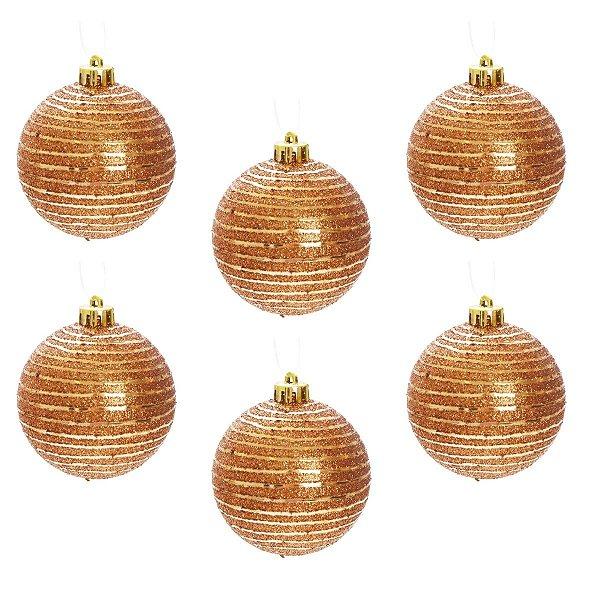 Kit Bola de Natal Dourada Escura com Glitter 8 cm 6 Unidades