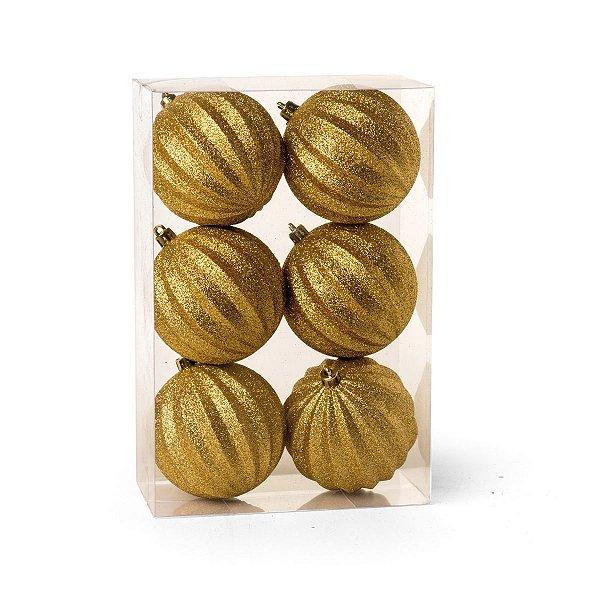 Kit Bola de Natal Dourada com Glitter 8 cm Gomos 6 Unidades