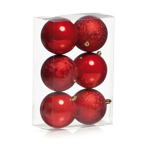 Conjunto de Bolas de Natal Vermelha Lisa e Craquelada 8 Cm 6 Unidades