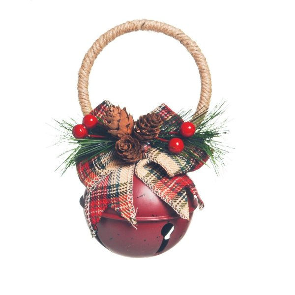 Enfeite de Natal Guizo Vermelho 16cm Jingle Bells 4 Unidades