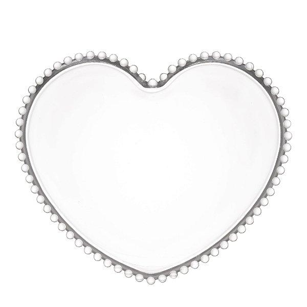 Conjunto de Pratos Coração Cristal Transparente 18 cm 4 Unidades