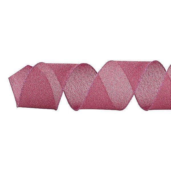 Fita Natalina Aramada Glitter Rosa Pink 6,3cm x 9,14m