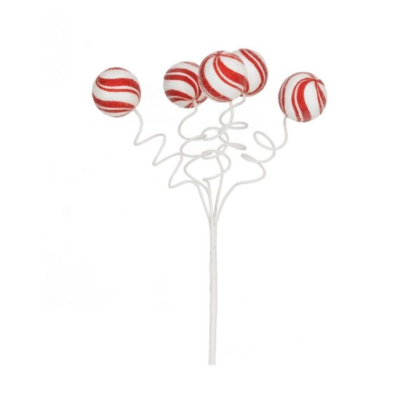 Galho com Bolas Listras Branco e Vermelho 30cm