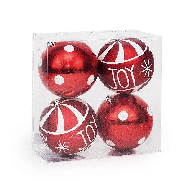 Bola de Natal Cromus Vermelha Joy 10cm c/4