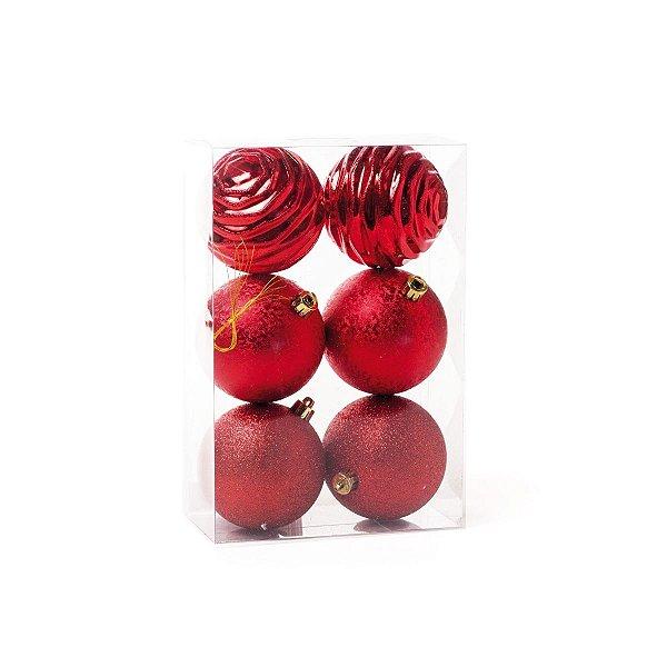 Kit Bola de Natal Cromus Vermelha Glitter, Texturizada e Ondas 8cm c/6