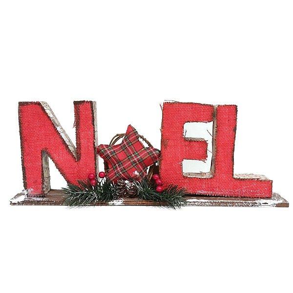 Placa Decorativa Natalina de Mesa Noel Luck 38cm