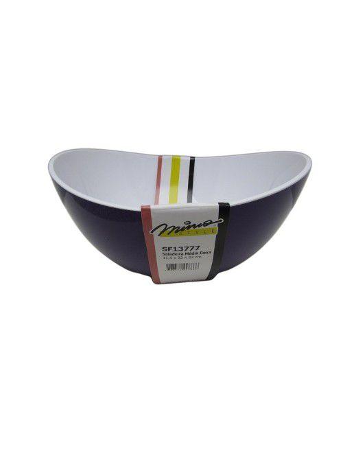 Saladeira Acrílica Oval 23cm Roxa Mimo Style