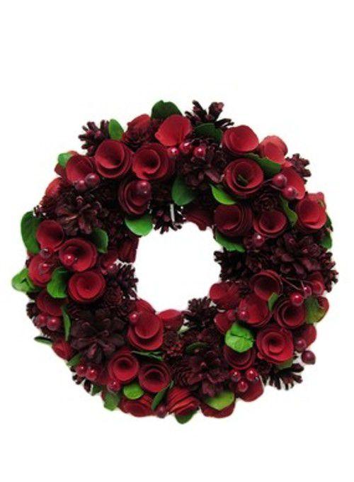 Guirlanda Floral Vermelha 32cm - Woldmack