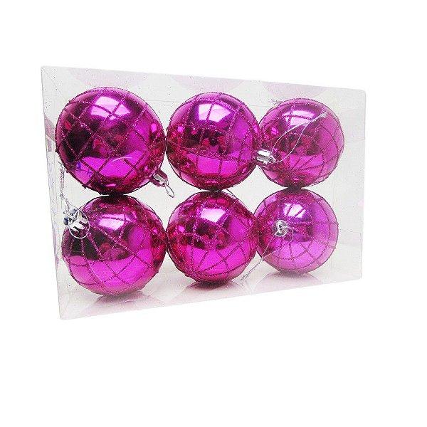 Conjunto De Bolas de Natal Pink Com Glitter 7cm - AV 09