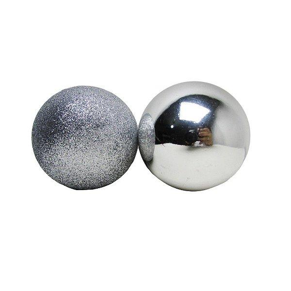 Conjunto de Bolas de Natal Prata 8cm 8 unidades - AV 09