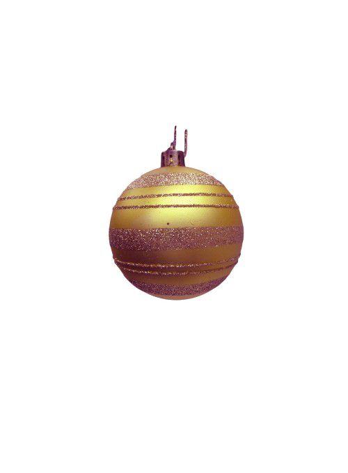 Conjunto de Bolas de Natal Dourada 7cm 6 unidades - AV 09