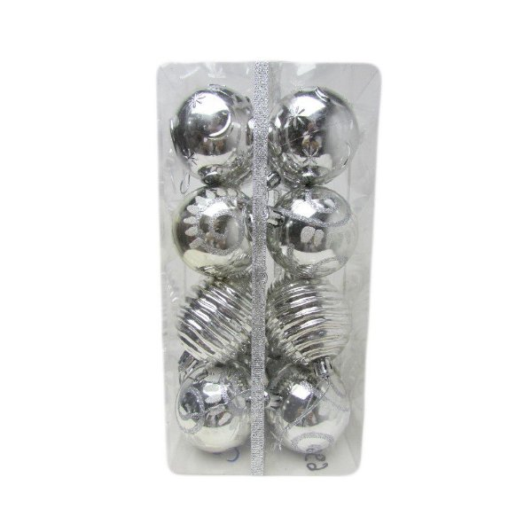 Conjunto de Bolas de Natal Prata 5cm 16 unidades - AV 09