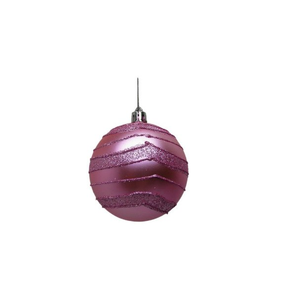 Conjunto de Bolas de Natal Rosa 8cm 6 unidades - AV 09