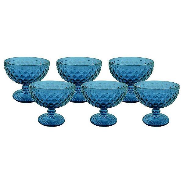 Jogo Taças para Coquetel Bico Abacaxi 6 Peças Azul Mimo Style