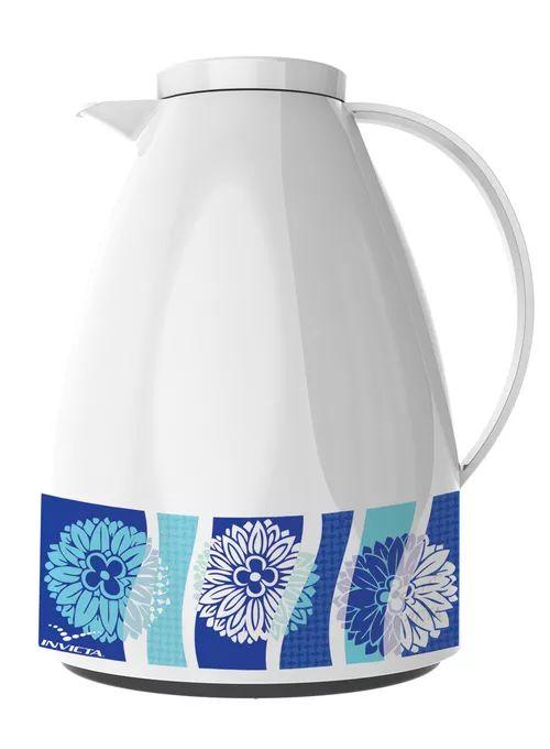 Garrafa Térmica Invicta Bule Viena Decorado Azul Floral