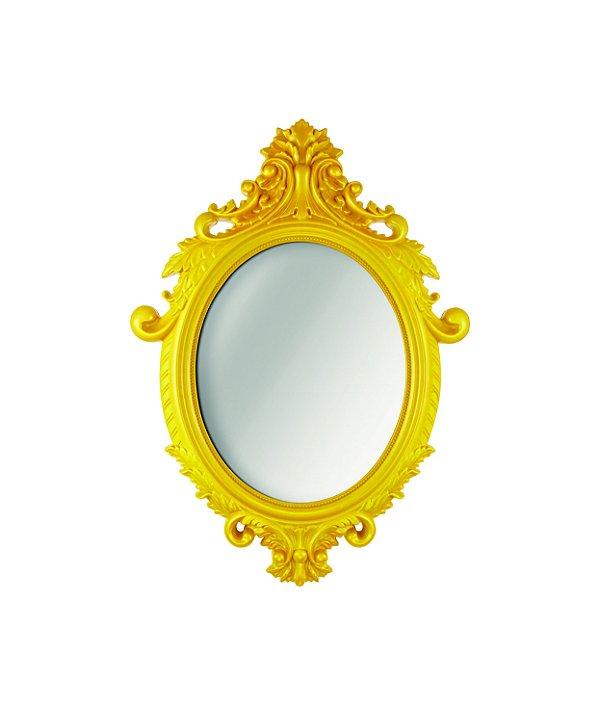 Espelho Oval Rococo Amarelo Mart Pequeno