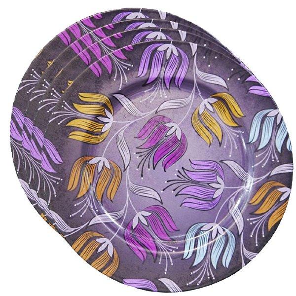 Prato Sousplat Lilás Flores 4 peças