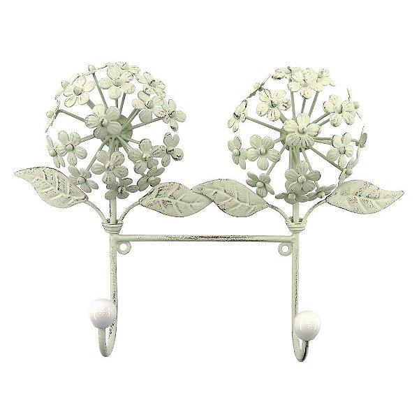Cabideiro de Metal Branco Flor Hortênsia