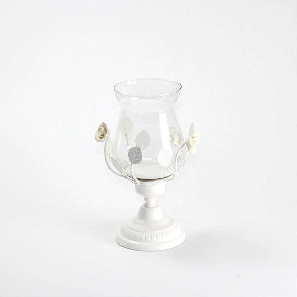 Castiçal Vintage Metal Branco com Flores