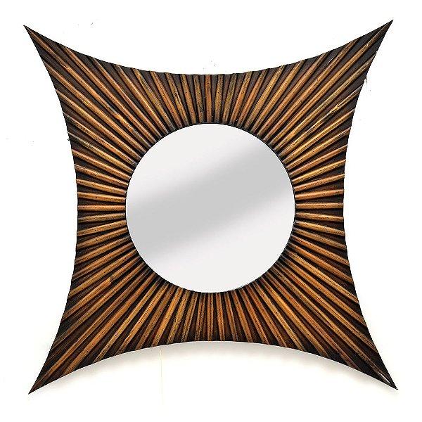 Espelho de Parede Madeira Bambu Espressione