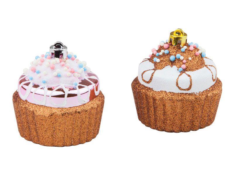 Bola de Natal Cupcake Plástico 7cm Com 2 Unidades Regina