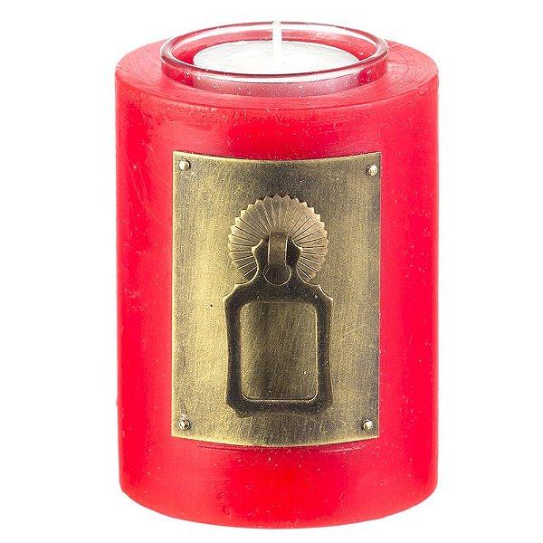 Vela Decorativa Vermelha Redonda Com Metal 11cm