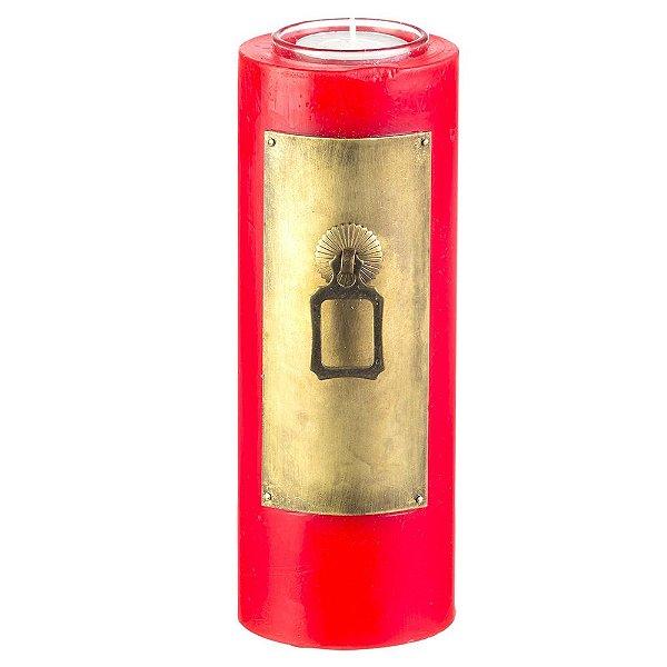 Vela Decorativa Vermelha Redonda Com Metal 21cm