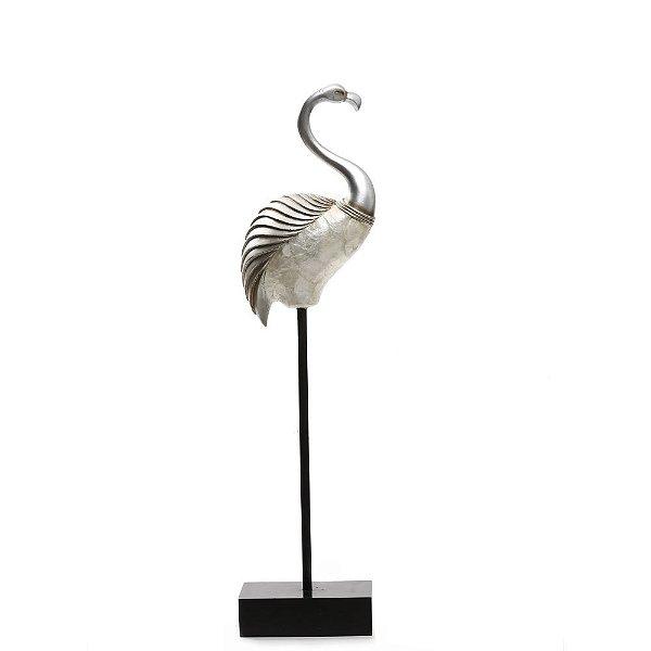 Peça Decorativa Flamingo Perolado 58cm Espressione